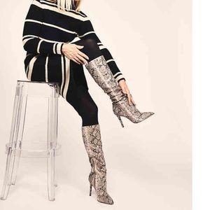 Jessica Simeon Snakeskin slouchy heeled boots